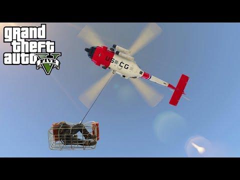 GTA 5 - Army Patrol Episode #37 - Coast Guard Air Lift Rescue! (New DLC Gear, Air Hoist)
