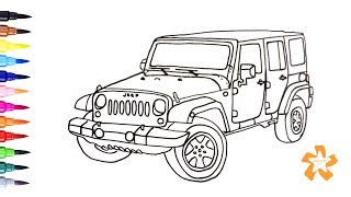 Cars - How to draw Jeep Wrangler - Coloring Pages For Children With Color & Kids TV