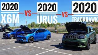 Greatest Super SUV Rące 2020 BMW X6M vs Lamborghini Urus vs Jeep Trackhawk