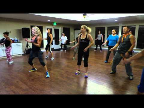 """Play that Funky Music"" Wild Cherry. Choreo by Karina Dugand for our 70's theme Zumba Party"
