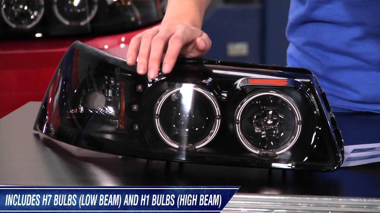 Mustang Raxiom Smoked Projector Headlights Dual Ccfl