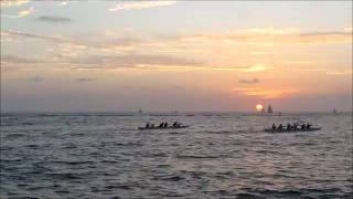 Rowing into the sunset at Waikiki