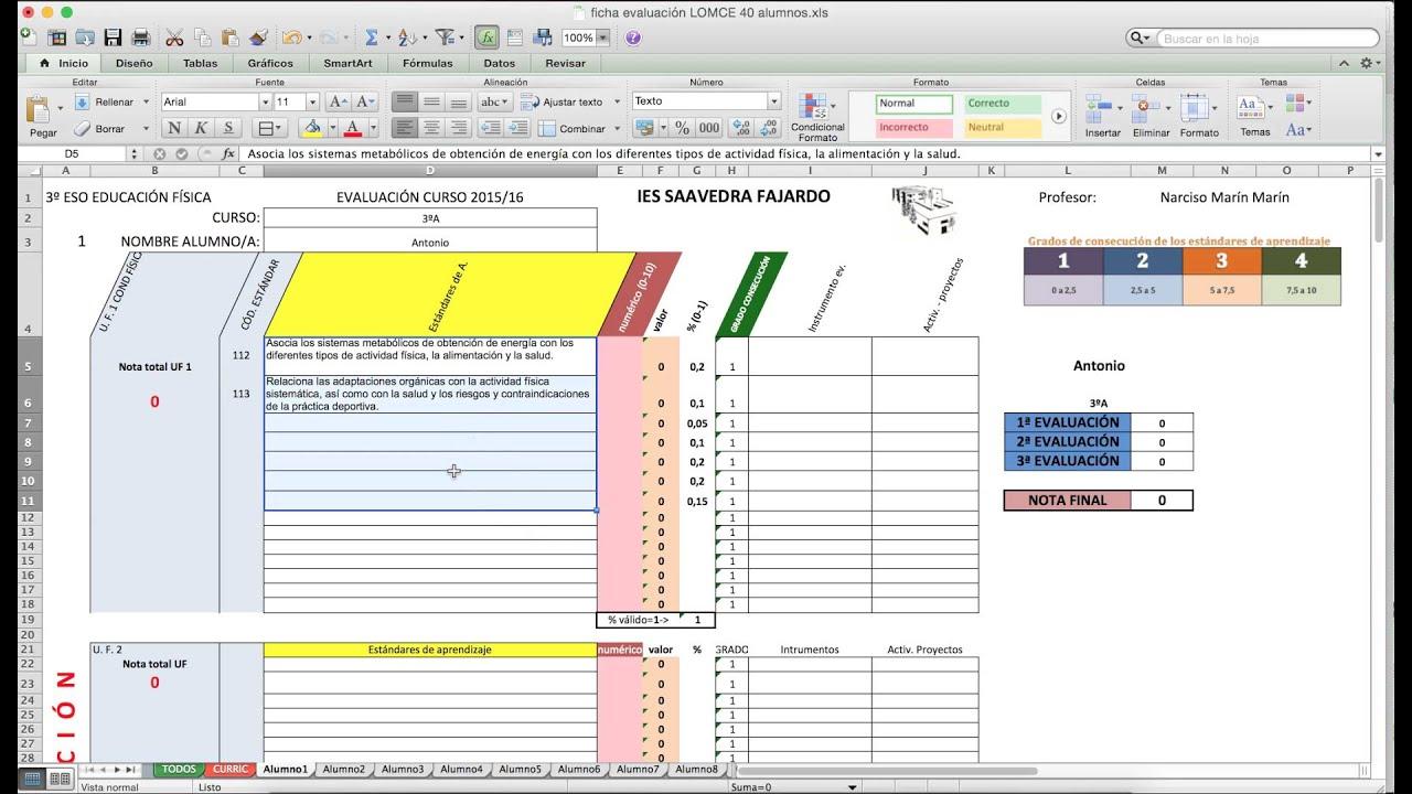 Evaluación estándares de aprendizaje con hoja de cálculo. EF en ...