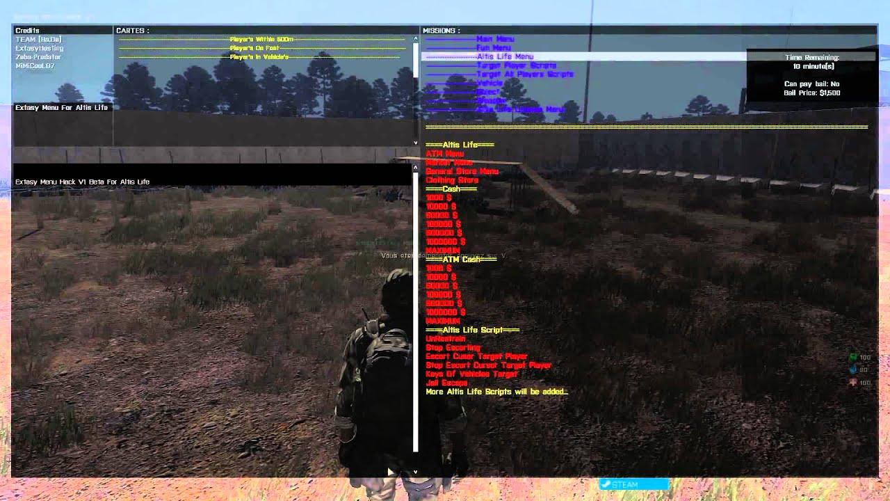 detected arma  extasy menu hack  altis life youtube