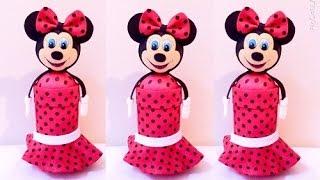 Porta treco de garrafa pet – Minnie – Show de Artesanato