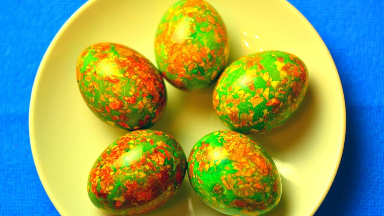 Как покрасить яйца на Пасху. Мраморные яйца. Простой ...