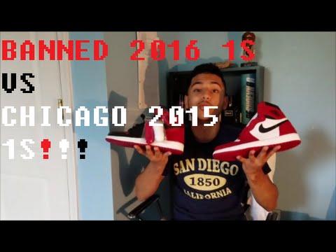 c9dbd0bea7ddfe BANNED 1 2016 VS CHICAGO 1 2015 - AIR JORDAN SNEAKER COMPARISON ...