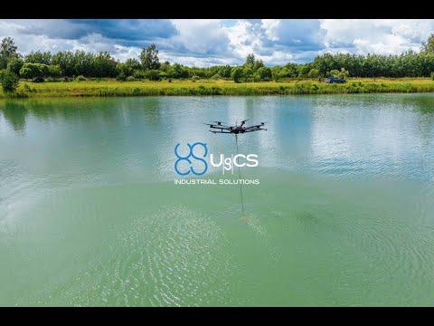 Bathymetric survey of a lake using UAV drone with echosounder