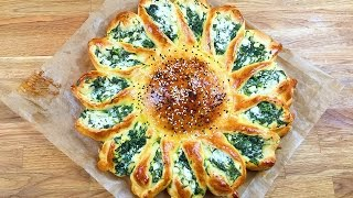 Sonnen Börek mit Schafskäse Spinat Füllung - Blumen Börek / Günes Pogaca - Cicek Poaca