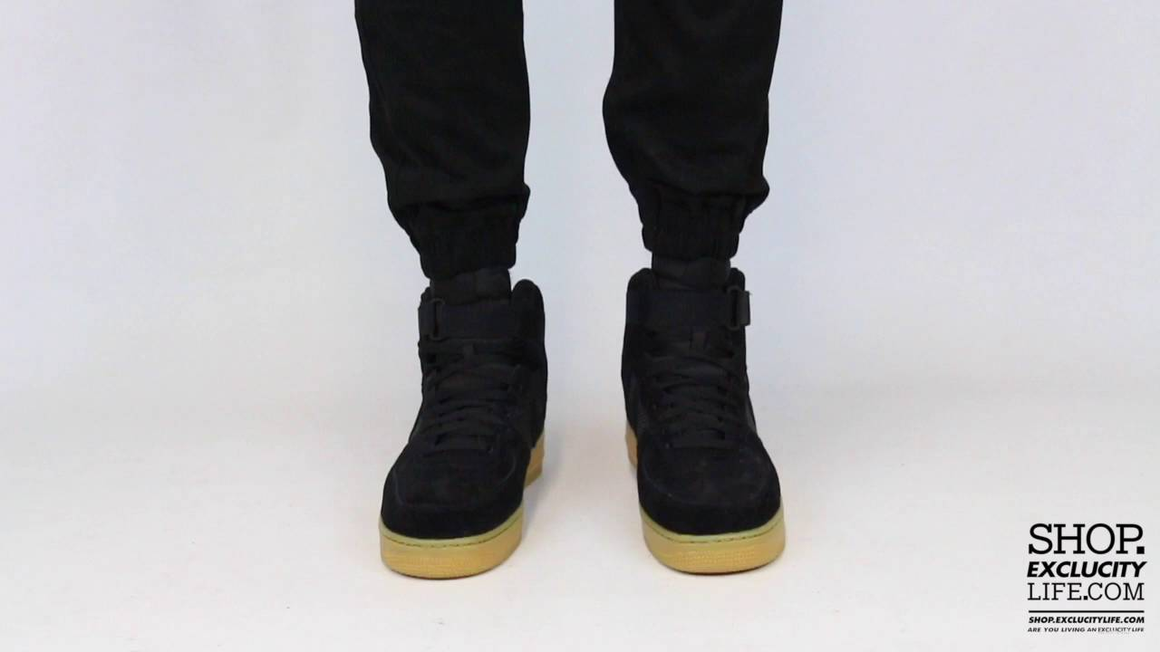 4b3bc5d1ce Nike Air Force 1 High Black Light Gum On feet Video at Exclucity ...
