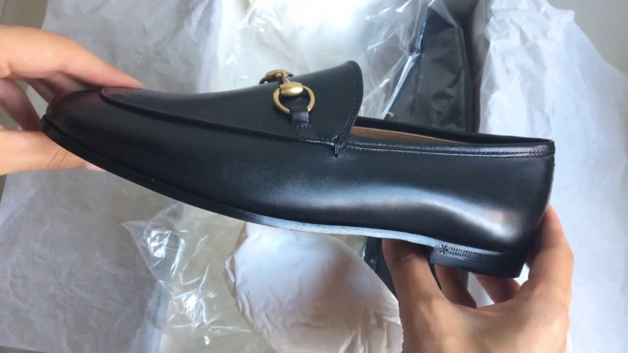 827ef241b40a Gucci Jordaan leather loafer unboxing - YouTube