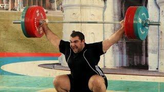Андрей Козлов толчок 120 и 160 кг на 3 раза. Показательное выступление по тяжелой атлетике.