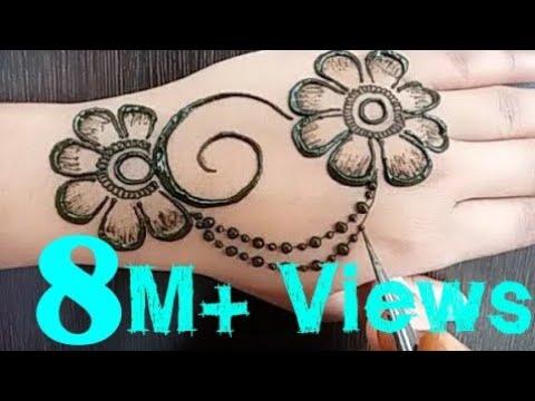 flower stylish back hand mehndi design jewellery style
