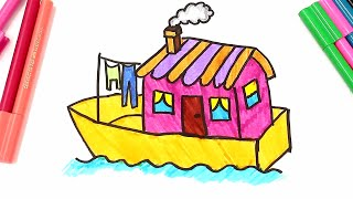 Drawing and Coloring a boat house, Learn types of houses coloring pages for kids