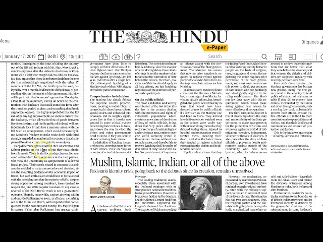 17 January 2019 Current Affairs The Hindu  Important Headlines  by Mrs Bilquees Khatri