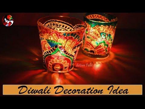 Decorative Tealight Candle Holders Design Ideas | Glass jar Candle Holder | Diwali Craft Decor Idea