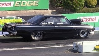 Gm mania Drag Racing Trans Brake lockup Willowbank Raceway 15.9.2013