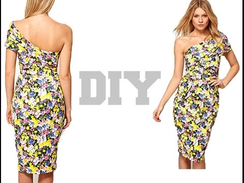 DIY.. One sleeve Bodycon Dress ( Easy Sewing) - YouTube