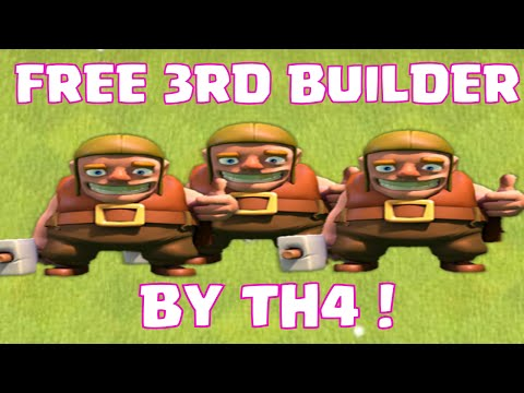 Clash Of Clans How To Get Your Third Builder FOR FREE AT TH4   Townhall 4 Free 3rd Builder