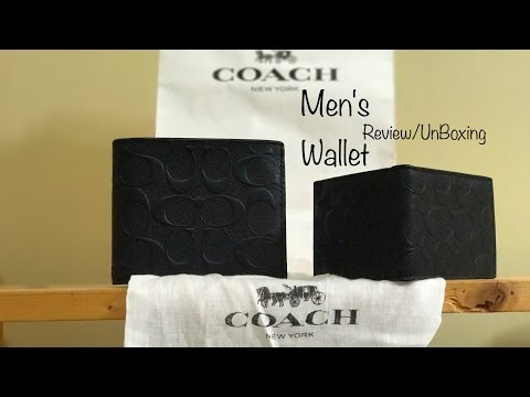 Coach Men's Compact ID Black Leather Wallet Review/Unboxing
