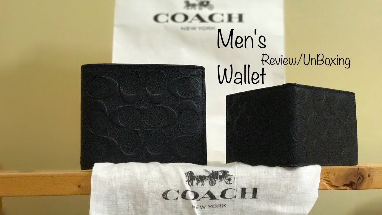 Coach Men S Compact Id Black Leather Wallet Review Unboxing Youtube