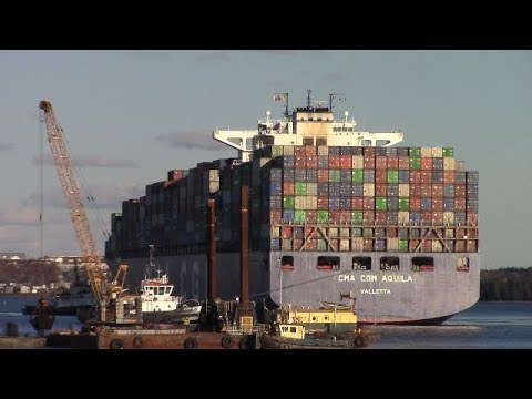 Very Large Container Ship CMA CGM AQUILA Inbound into Halifax, NS, Canada