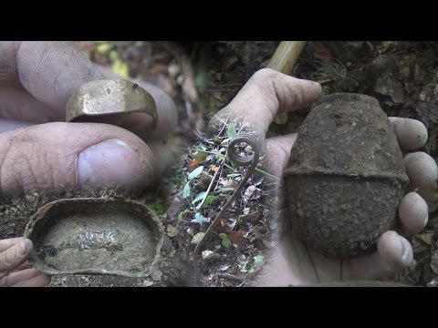 Metal Detecting WW2 - SOLDIERS RING! German M39 Egg Hand Grenade - German ration and more! [ HS ]