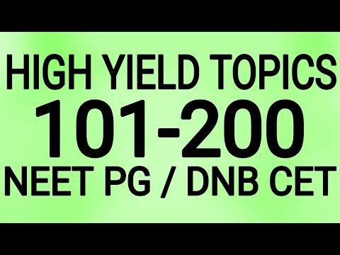 HIGH YIELD TOPICS  101-200 NEET PG / DNB CET