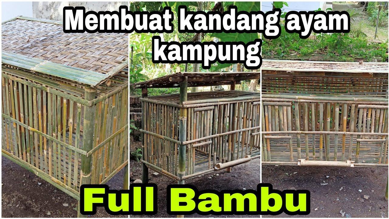Membuat Kandang Ayam Sederhana Dan Mudah Full Bambu Asal Jadi Youtube Model kandang ayam dari bambu