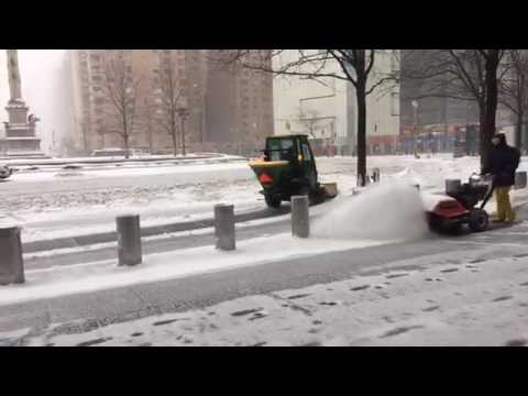 New York USA: Walking in the blizzard in New York City through Central Park and Columbus.