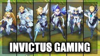 All New Invictus Gaming IG Skins Spotlight LeBlanc, Fiora, KaiSa, Irelia, Camille, Rakan - LoL