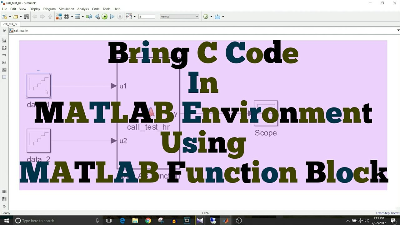 simulink tutorial 37 use c code using matlab function block [ 1280 x 720 Pixel ]
