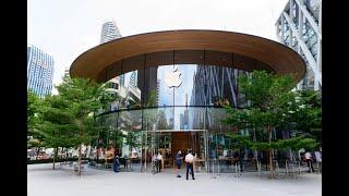 [4K] 2020 Walk inside new 2nd Apple Store at Central World luxury shopping mall, Bangkok
