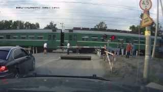 Кавказцы устроили ДТП! Переезд Вишняково! Открыли шлагбаум для BMW и устроили аварию!   accident
