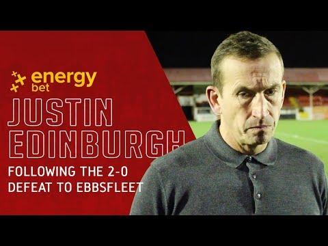 REACTION: Head Coach Justin Edinburgh following the 2-0 defeat to Ebbsfleet United