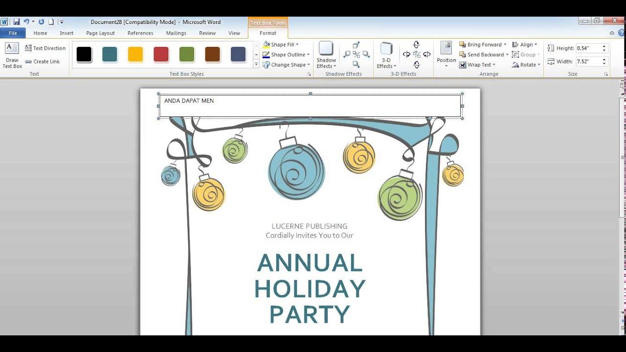 Cara membuat undangan di Microsoft word 2010 - YouTube