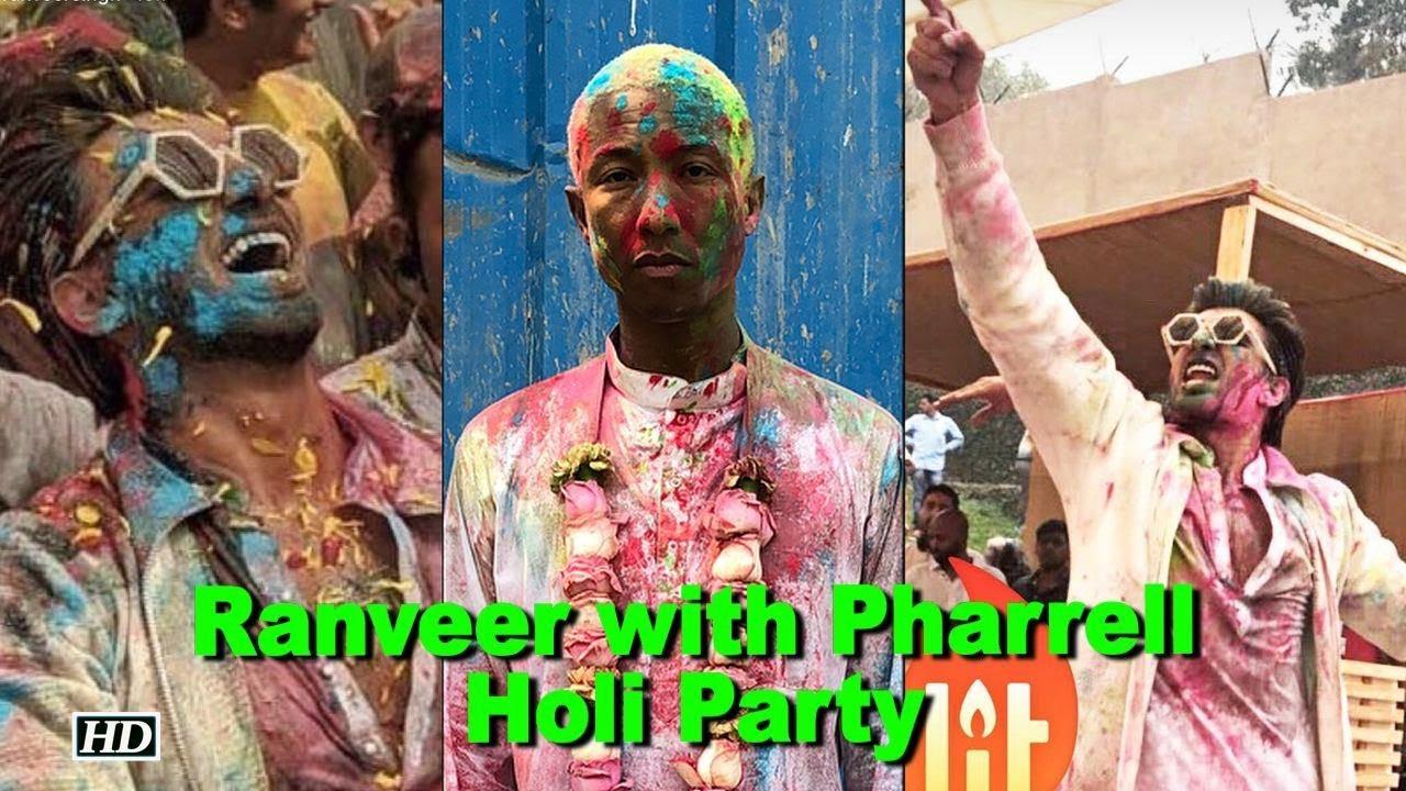 eb922c0910d81 Pharrell Williams celebrates Holi with Ranveer Singh - YouTube