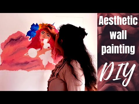 aesthetic-wall-painting-|-diy-bedroom-wall-art-|-aesthetic-bedroom-wall-diy-|