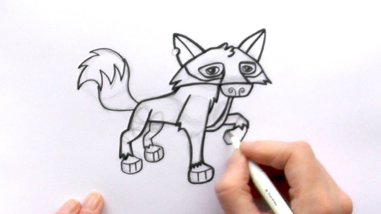 How To Draw A Cartoon Wolf From Animal Jam