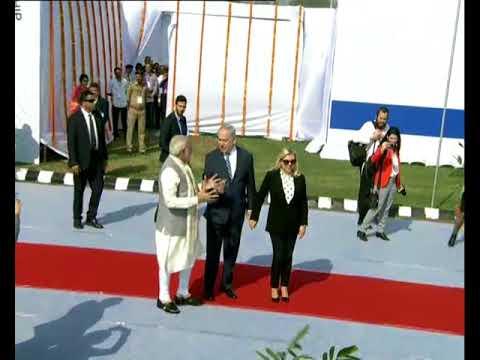 PM Modi receives Israeli PM Netanyahu at Ahmedabad Airport, Gujarat