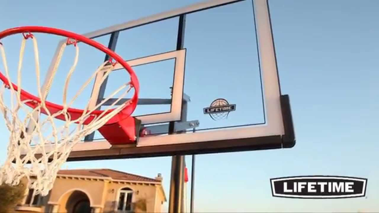 Lifetime portable basketball system with power lift model for How to build a basketball goal