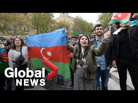 Nagorno-Karabakh conflict: Azeris celebrate peace deal with Armenia, Russia