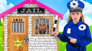 Sasha Policeman Locking Dima and Uncle in Toy Playhouse Jail for bad behavior