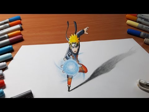 Drawing Naruto - Rasengan in 3D - YouTube