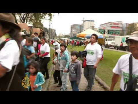 Native Ecuadorans protest mining projects