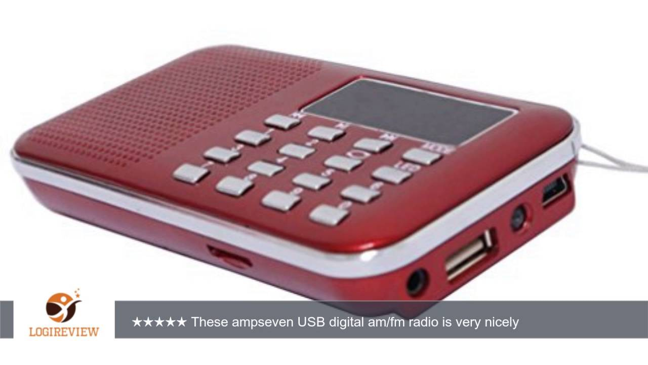 AMPSEVEN Mini USB Digital AM FM Radio Speaker Portable MP3 Music Player  With TF Card Slot (Red 218)