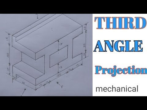 thitd angle projection ,orthographic projection,how to drow third angle projection in hindi,