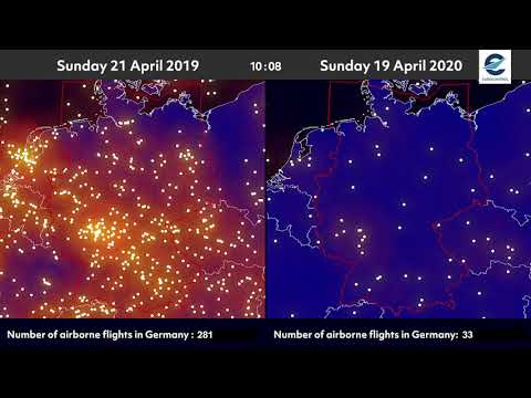 Air traffic situation over Germany - 21 April 2019 vs 19 April 2020