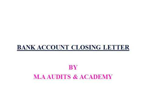 Bank Account Closing Letter Youtube