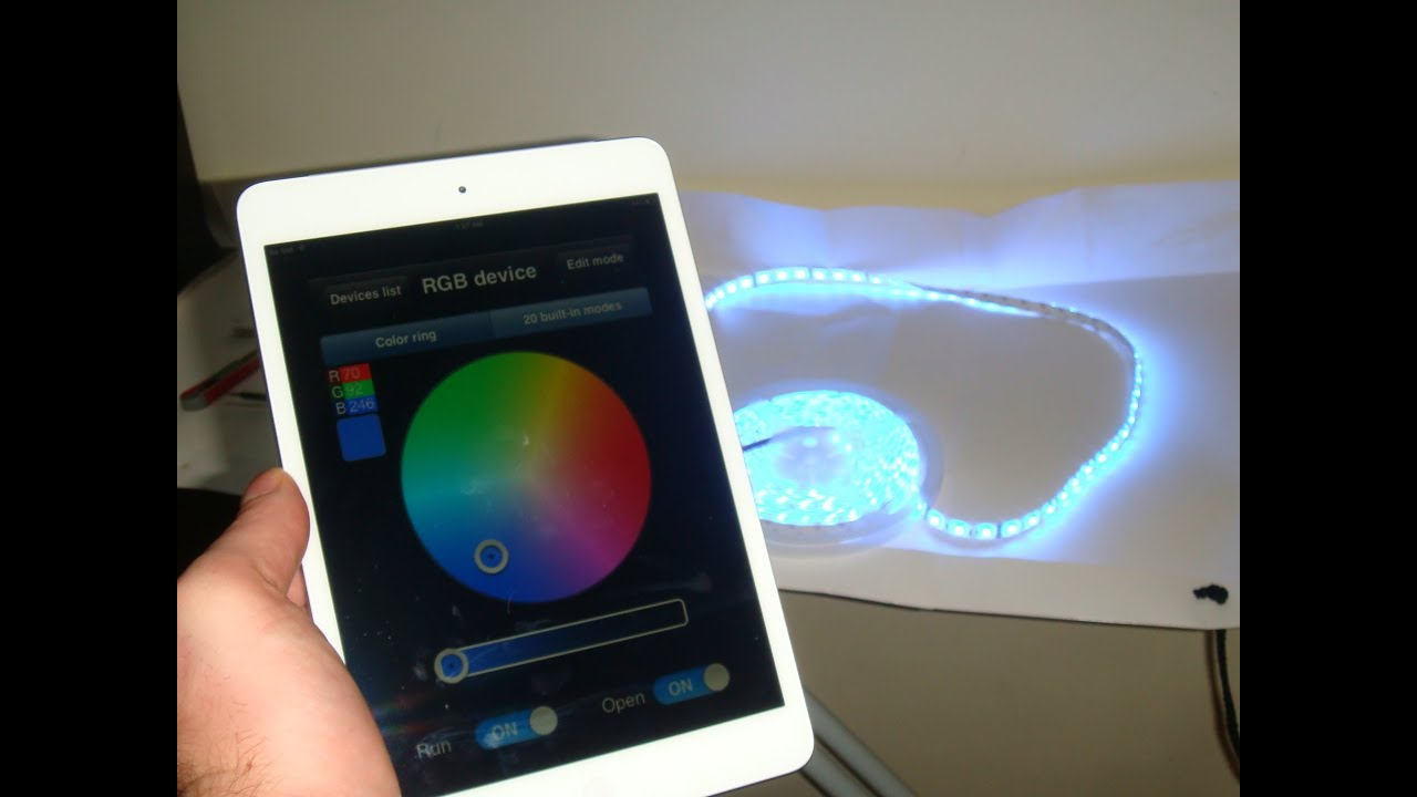 LED WIFI Controller RGB Strip Instruction how to controll LED Lights With  your Smartphone or iPad - YouTube